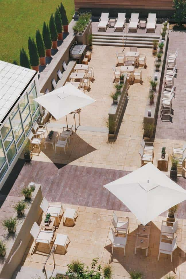 The patio at the Element Lexington features a grill